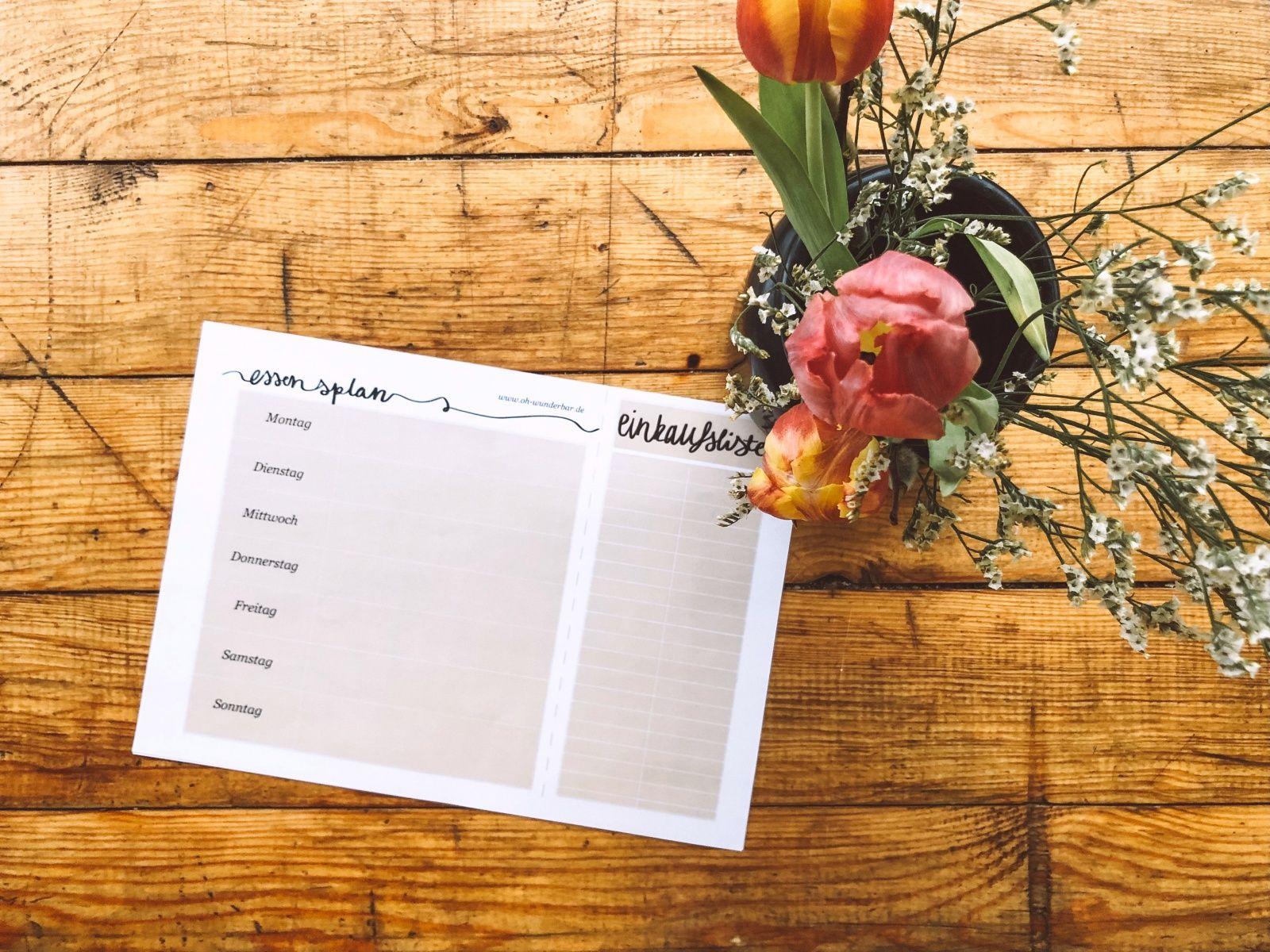 Essensplaner Einkaufsliste A5 Meal Planner Shopping List f/ür die ganze Woche rot